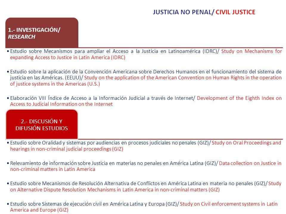 1.- INVESTIGACIÓN/ RESEARCH Estudio sobre Mecanismos para ampliar el Acceso a la Justicia en Latinoamérica (IDRC)/ Study on Mechanisms for expanding Access to Justice in Latin America (IDRC) Estudio sobre la aplicación de la Convención Americana sobre Derechos Humanos en el funcionamiento del sistema de justicia en las Américas.