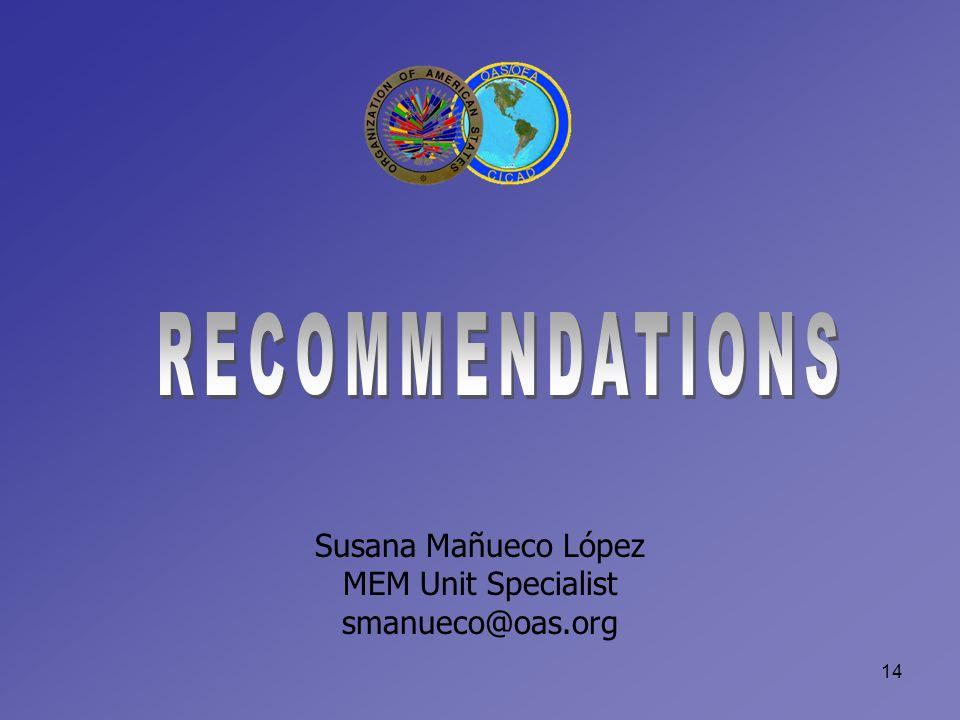 14 Susana Mañueco López MEM Unit Specialist smanueco@oas.org
