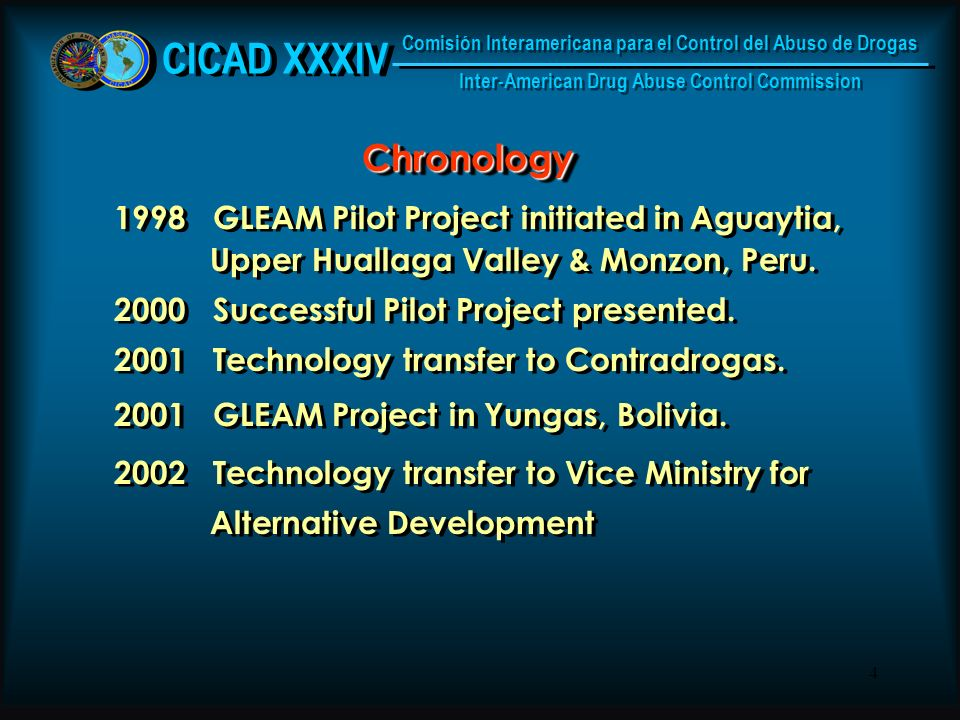 4 ChronologyChronology 1998 GLEAM Pilot Project initiated in Aguaytia, Upper Huallaga Valley & Monzon, Peru.