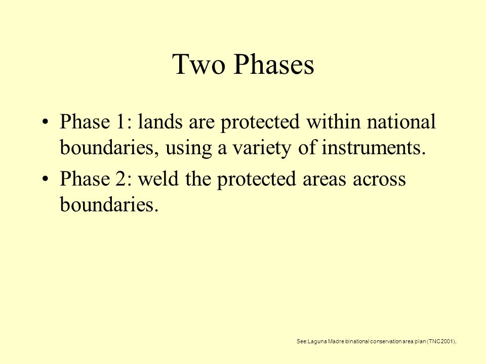 Two Phases Phase 1: lands are protected within national boundaries, using a variety of instruments.