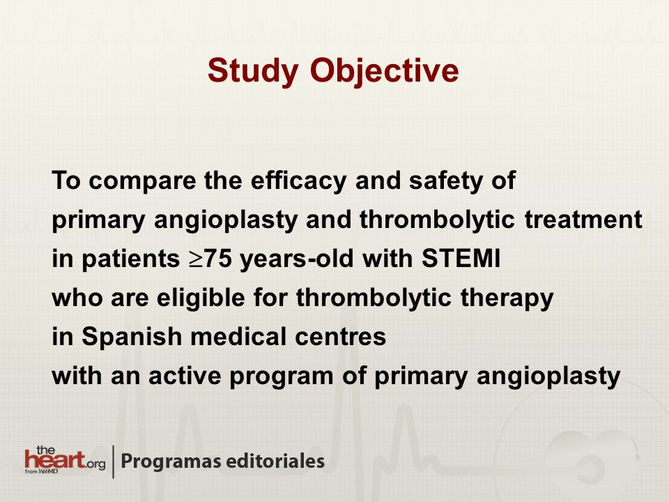 To compare the efficacy and safety of primary angioplasty and thrombolytic treatment in patients 75 years-old with STEMI who are eligible for thrombol