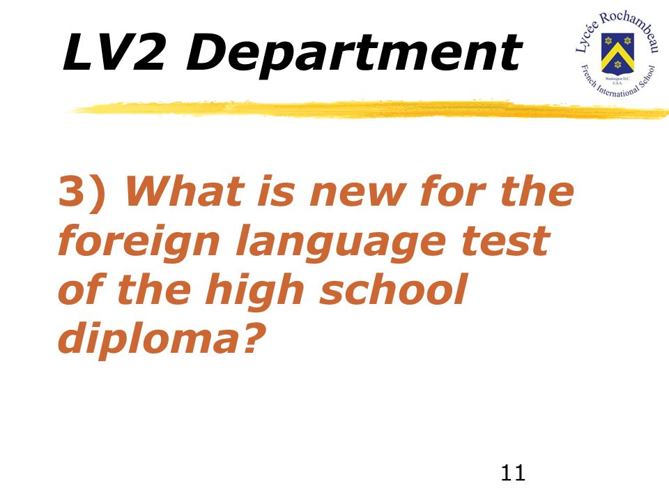 LV2 Department 2.1) Regular groups. 2.2) Native Spanish Speakers class, including Native speakers from all three high school levels. 10