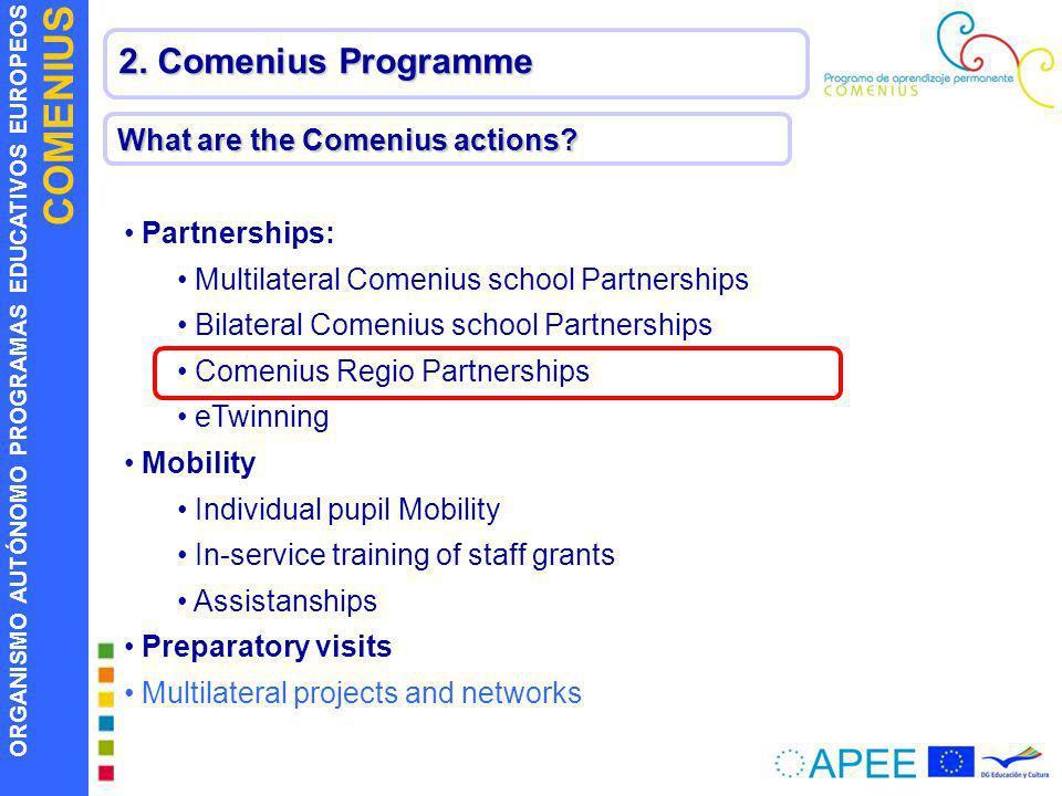 ORGANISMO AUTÓNOMO PROGRAMAS EDUCATIVOS EUROPEOS COMENIUS What are the Comenius actions? Partnerships: Multilateral Comenius school Partnerships Bilat