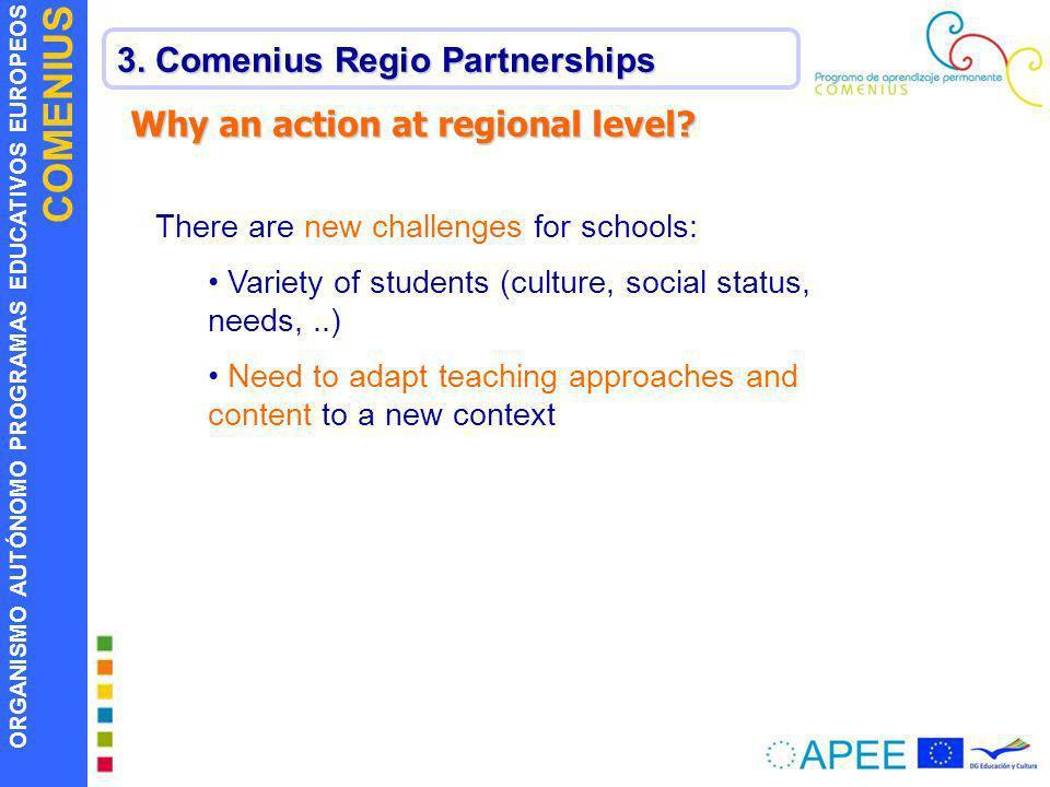 ORGANISMO AUTÓNOMO PROGRAMAS EDUCATIVOS EUROPEOS COMENIUS 3. Comenius Regio Partnerships There are new challenges for schools: Variety of students (cu