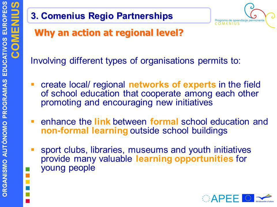 ORGANISMO AUTÓNOMO PROGRAMAS EDUCATIVOS EUROPEOS COMENIUS 3. Comenius Regio Partnerships Why an action at regional level? Involving different types of