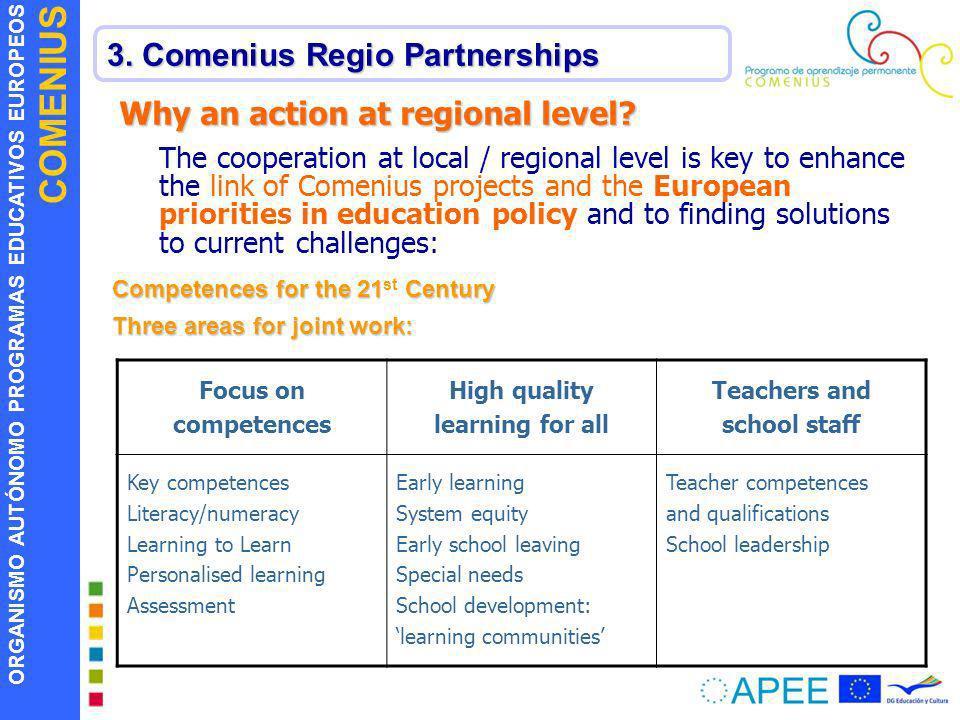 ORGANISMO AUTÓNOMO PROGRAMAS EDUCATIVOS EUROPEOS COMENIUS 3. Comenius Regio Partnerships Why an action at regional level? The cooperation at local / r