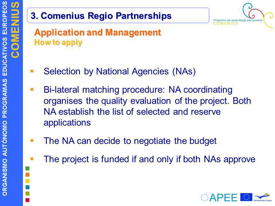 ORGANISMO AUTÓNOMO PROGRAMAS EDUCATIVOS EUROPEOS COMENIUS 3. Comenius Regio Partnerships Application and Management How to apply Selection by National