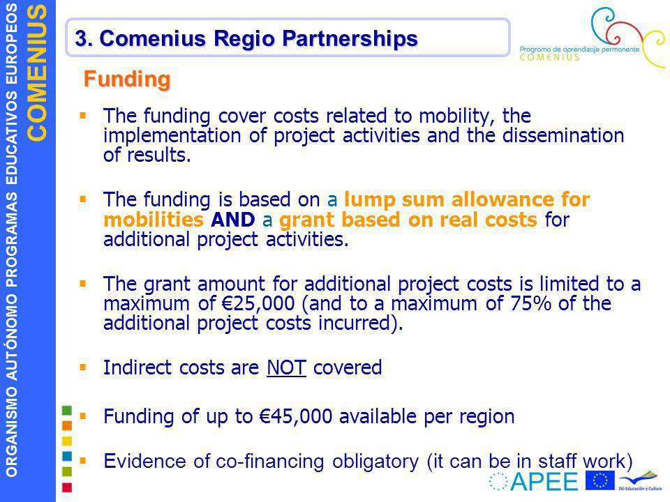 ORGANISMO AUTÓNOMO PROGRAMAS EDUCATIVOS EUROPEOS COMENIUS 3. Comenius Regio Partnerships Funding The funding cover costs related to mobility, the impl