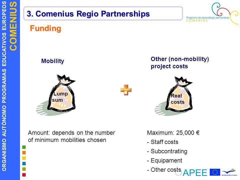 ORGANISMO AUTÓNOMO PROGRAMAS EDUCATIVOS EUROPEOS COMENIUS 3. Comenius Regio Partnerships Funding Lump sum Real costs Mobility Other (non-mobility) pro