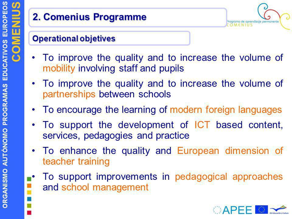 ORGANISMO AUTÓNOMO PROGRAMAS EDUCATIVOS EUROPEOS COMENIUS 2. Comenius Programme Operational objetives To improve the quality and to increase the volum