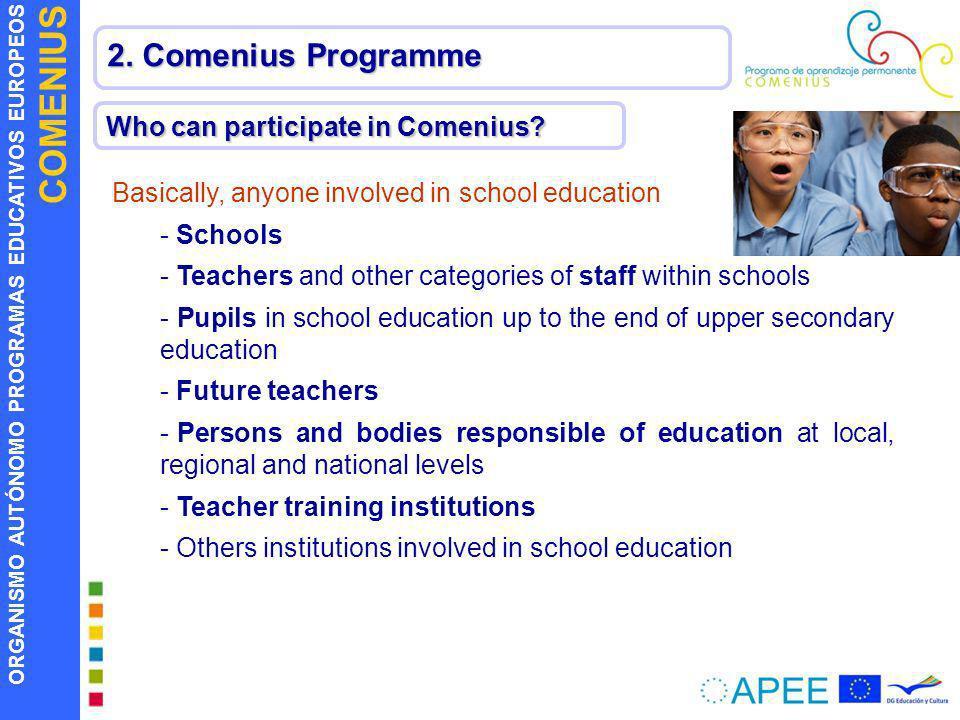 ORGANISMO AUTÓNOMO PROGRAMAS EDUCATIVOS EUROPEOS COMENIUS 2. Comenius Programme Who can participate in Comenius? Basically, anyone involved in school