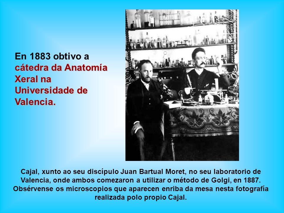 Cajal, xunto ao seu discípulo Juan Bartual Moret, no seu laboratorio de Valencia, onde ambos comezaron a utilizar o método de Golgi, en 1887. Obsérven