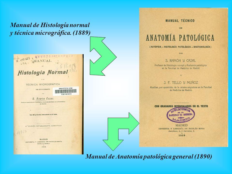 Manual de Histología normal y técnica micrográfica. (1889) Manual de Anatomía patológica general (1890)
