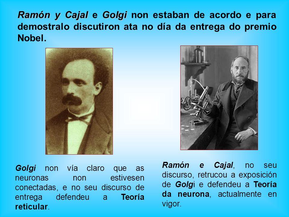 Golgi non vía claro que as neuronas non estivesen conectadas, e no seu discurso de entrega defendeu a Teoría reticular. Ramón y CajalGolgi Ramón y Caj