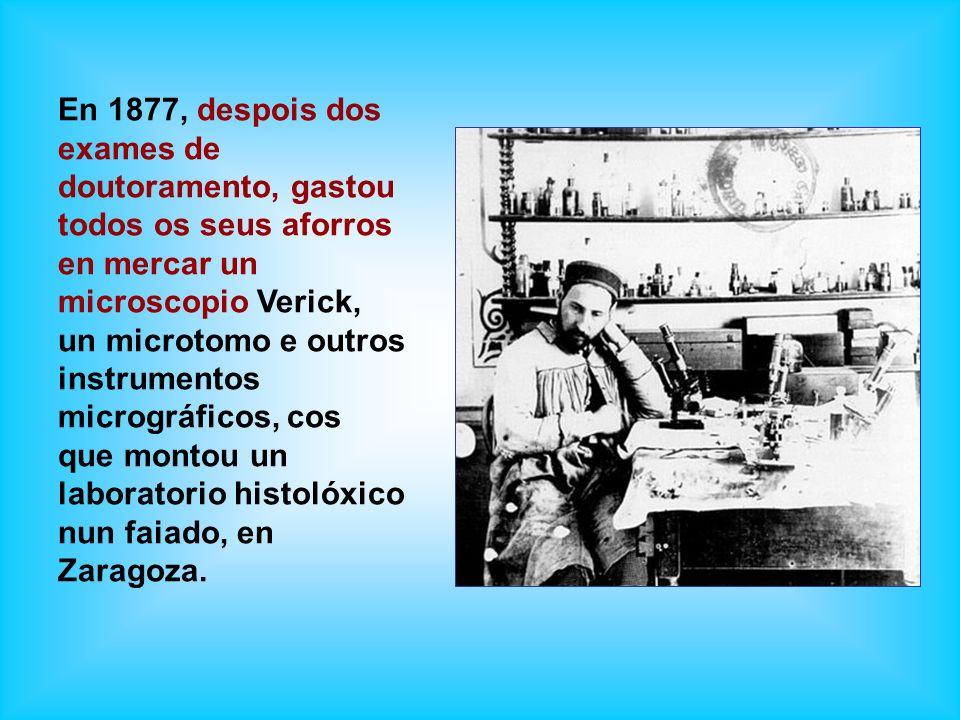 En 1877, despois dos exames de doutoramento, gastou todos os seus aforros en mercar un microscopio Verick, un microtomo e outros instrumentos micrográ