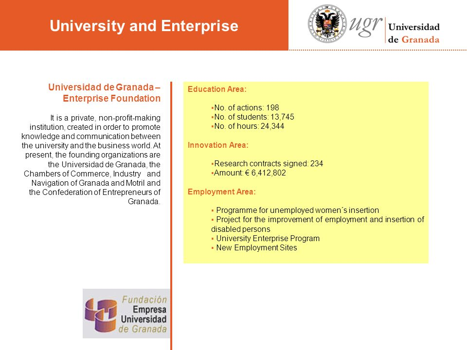 Universidad de Granada – Enterprise Foundation It is a private, non-profit-making institution, created in order to promote knowledge and communication between the university and the business world.
