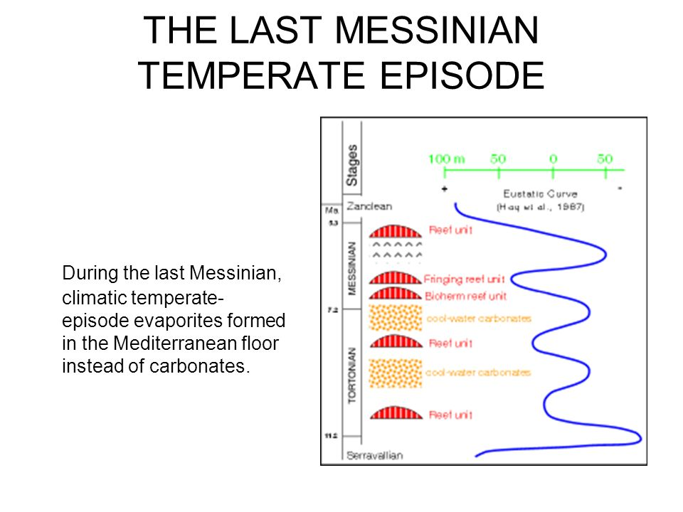 THE LAST MESSINIAN TEMPERATE EPISODE During the last Messinian, climatic temperate- episode evaporites formed in the Mediterranean floor instead of ca