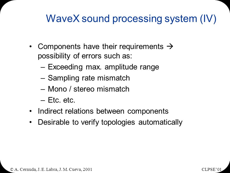 © A. Cernuda, J. E. Labra, J. M. Cueva, 2001CLPSE01 WaveX sound processing system (IV) Components have their requirements possibility of errors such a