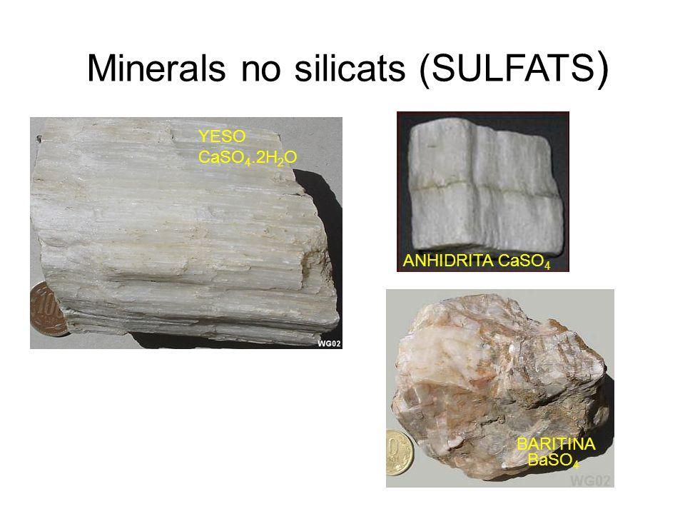 Minerals no silicats (SULFATS ) YESO CaSO 4.2H 2 O ANHIDRITA CaSO 4 BARITINA BaSO 4
