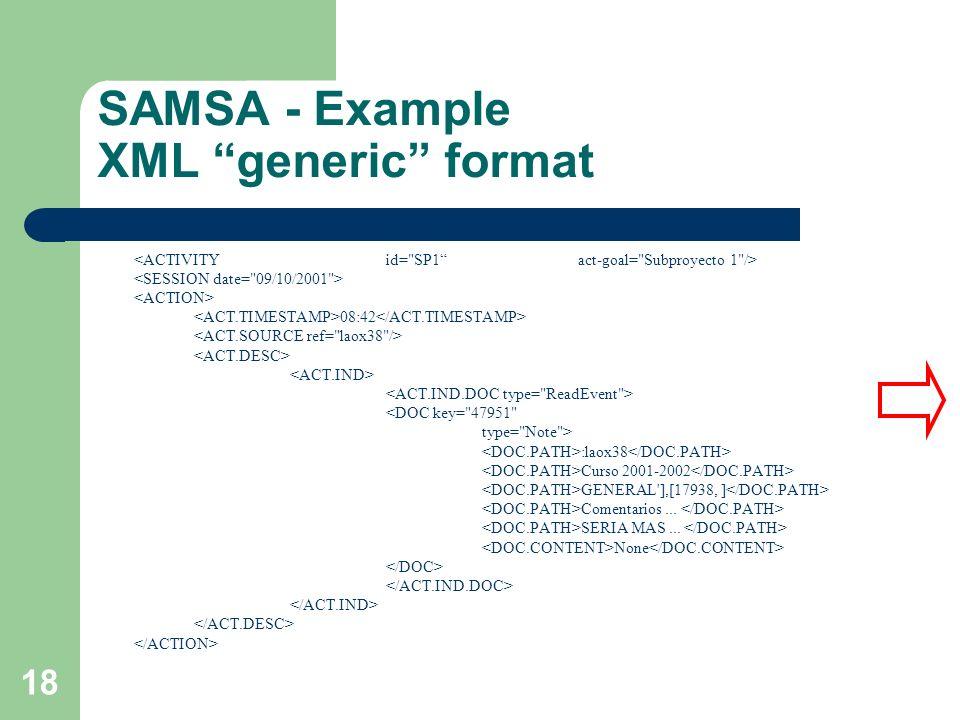 18 SAMSA - Example XML generic format 08:42 <DOC key=