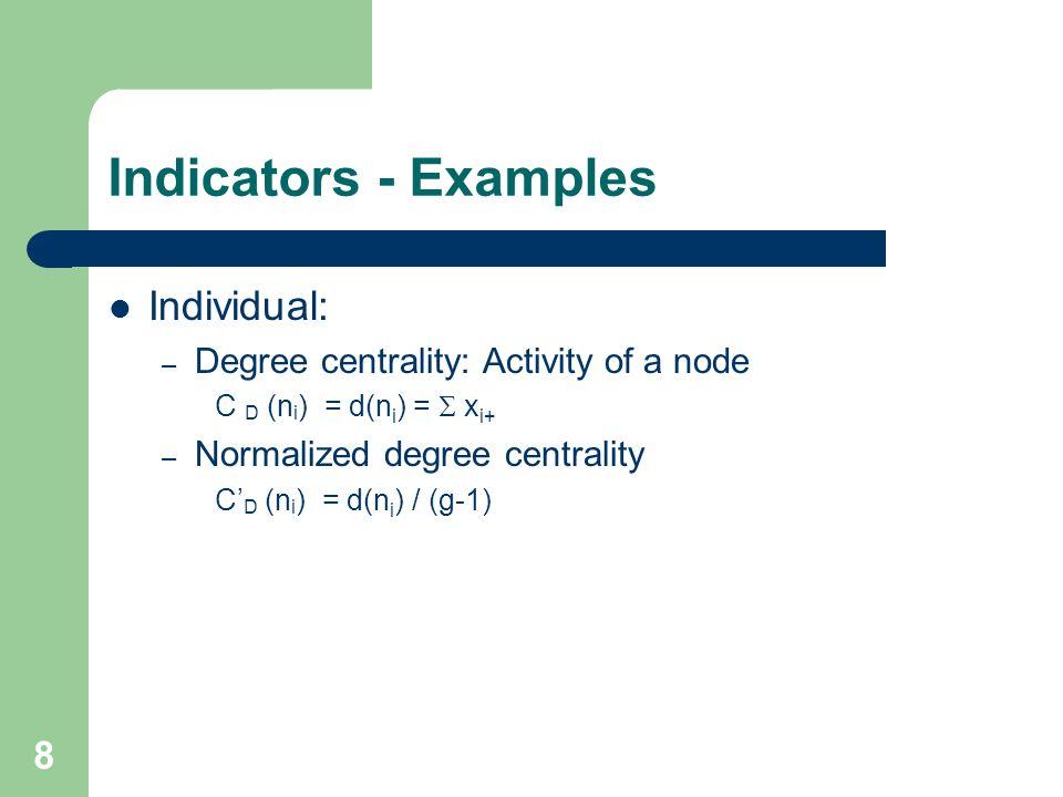 8 Indicators - Examples Individual: – Degree centrality: Activity of a node C D (n i ) = d(n i ) = x i+ – Normalized degree centrality C D (n i ) = d(