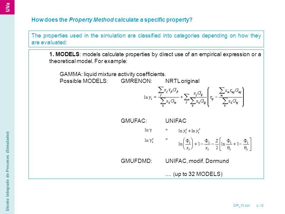DIP_10.ppt p. 12 Diseño Integrado de Procesos (Simulador) How does the Property Method calculate a specific property? The properties used in the simul