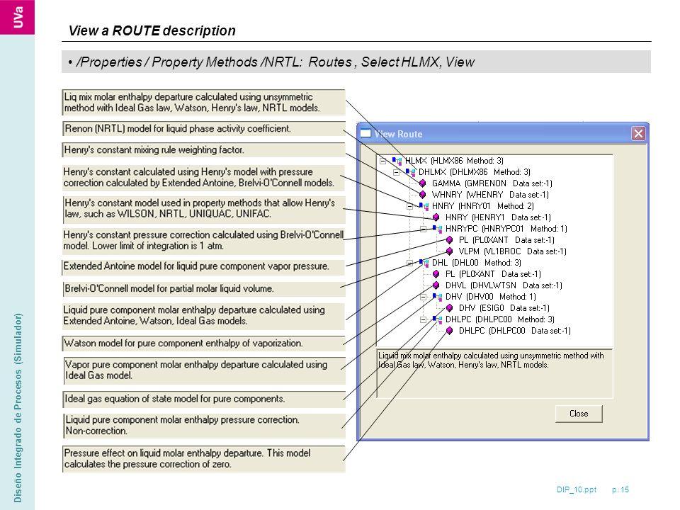 DIP_10.ppt p. 15 Diseño Integrado de Procesos (Simulador) /Properties / Property Methods /NRTL: Routes, Select HLMX, View View a ROUTE description