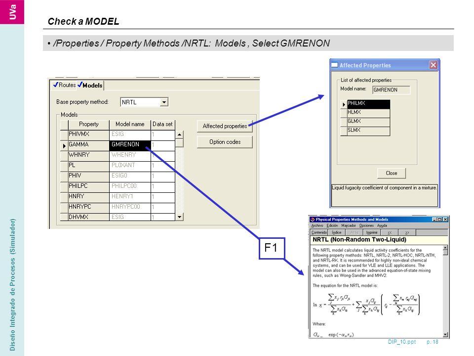 DIP_10.ppt p. 18 Diseño Integrado de Procesos (Simulador) /Properties / Property Methods /NRTL: Models, Select GMRENON Check a MODEL F1