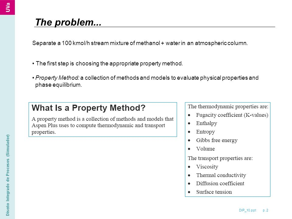 DIP_10.ppt p. 2 Diseño Integrado de Procesos (Simulador) The problem...