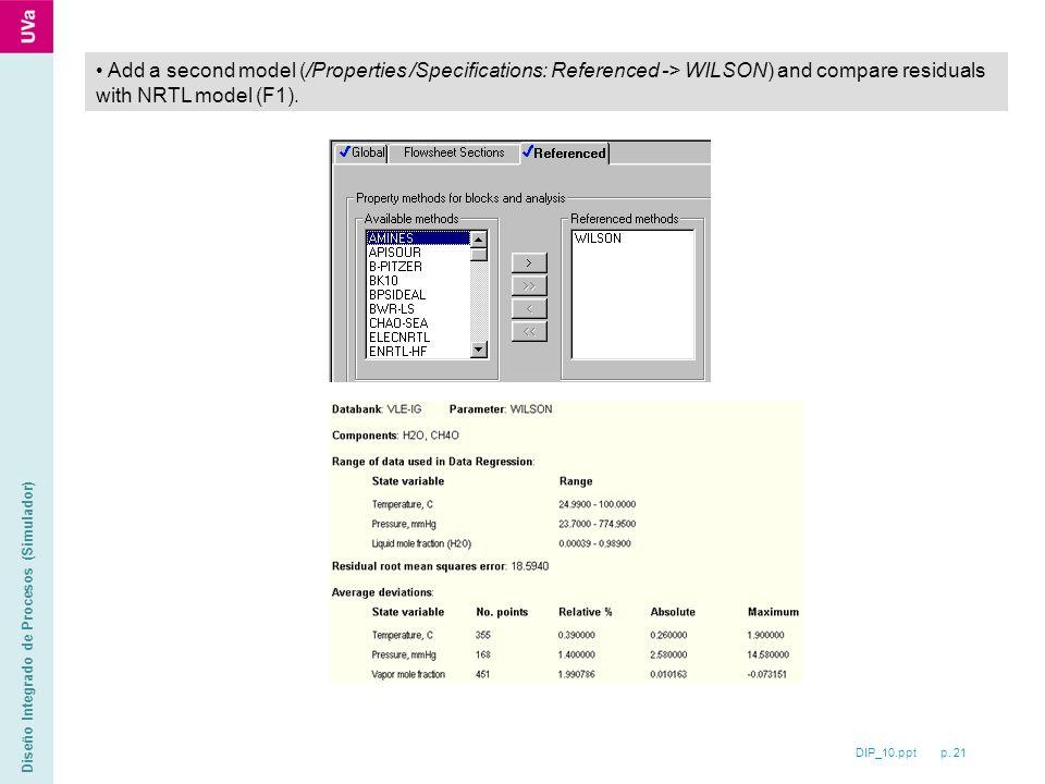 DIP_10.ppt p. 21 Diseño Integrado de Procesos (Simulador) Add a second model (/Properties /Specifications: Referenced -> WILSON) and compare residuals