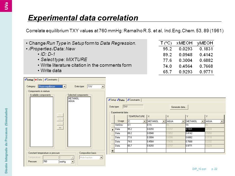 DIP_10.ppt p. 22 Diseño Integrado de Procesos (Simulador) Experimental data correlation Correlate equilibrium TXY values at 760 mmHg: Ramalho R.S. et