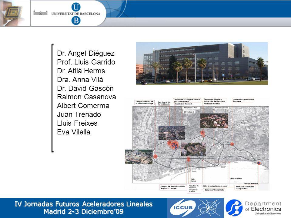 IV Jornadas Futuros Aceleradores Lineales Madrid 2-3 Diciembre09 Dr. Angel Diéguez Prof. Lluis Garrido Dr. Atilà Herms Dra. Anna Vilà Dr. David Gascón