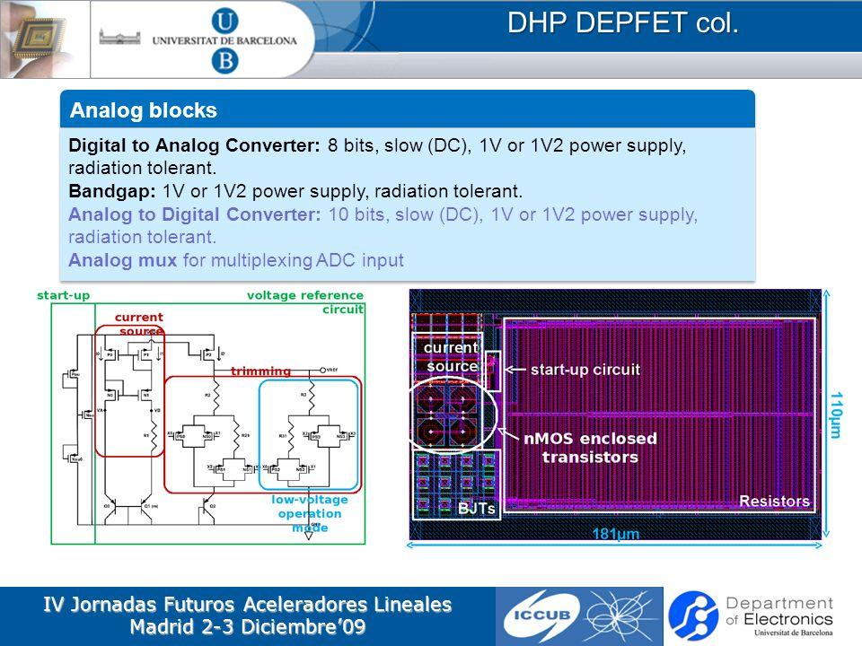 IV Jornadas Futuros Aceleradores Lineales Madrid 2-3 Diciembre09 DHP DEPFET col. Analog blocks Digital to Analog Converter: 8 bits, slow (DC), 1V or 1
