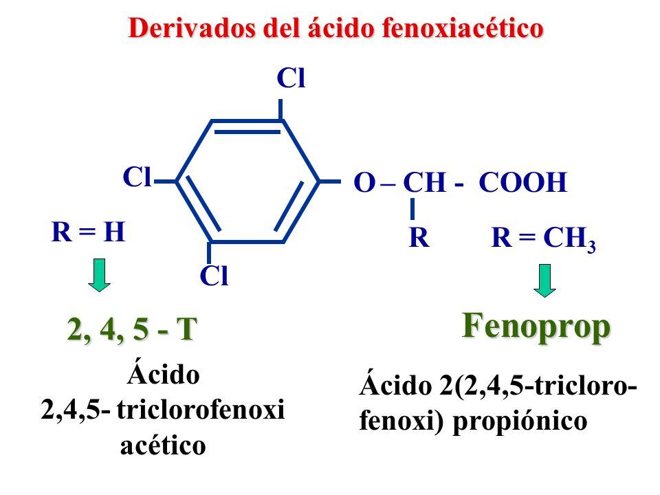 Herbicidas derivados de ácidos orgánicos Bromoxinilo OH Br CN Diclobenilo Benzonitrilos Br Cl CN Cl 3,5-dibromo-4-hidroxi- benzonitrilo 3,5-dicloro- benzonitrilo