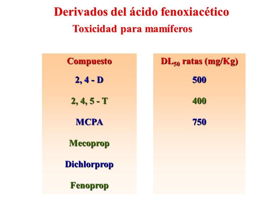 CompuestoSimazinaPropazinaAtrazinaPrometonaAtratonaPrometrinaAmetrina DL 50 ratas (mg/Kg) 5000500030802980240037501110 Toxicidad para mamíferos Heterociclos herbicidas: Triazinas sustituidas