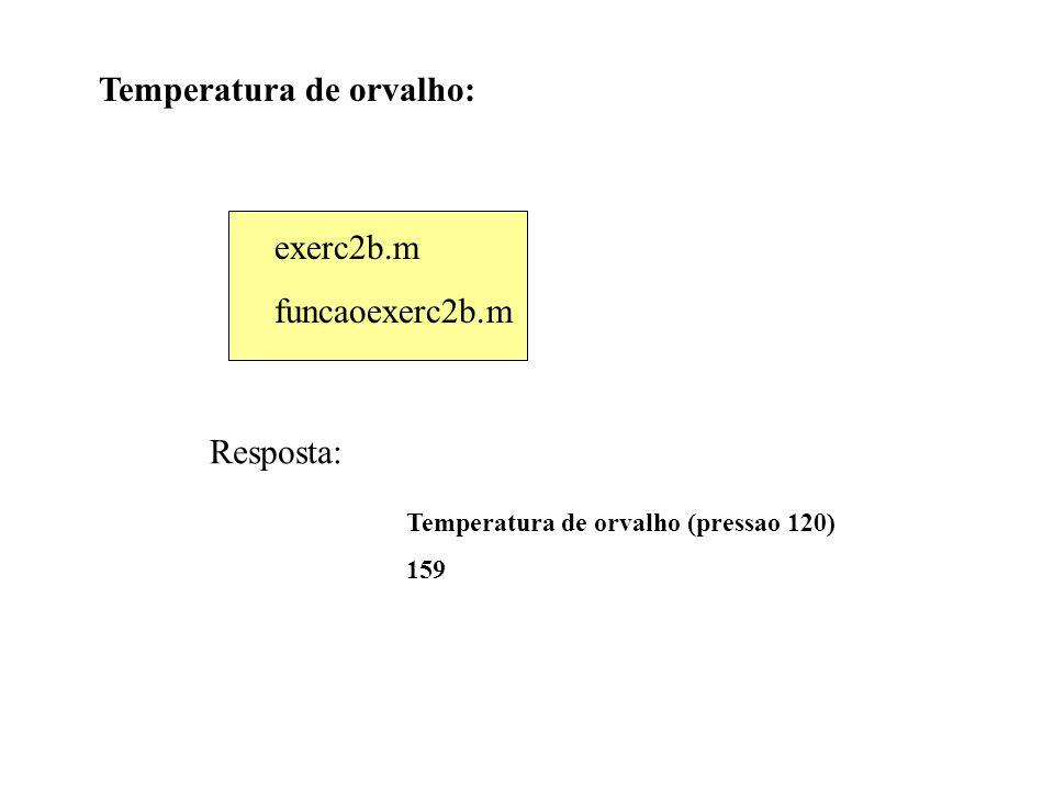 Temperatura de orvalho (pressao 120) 159 Temperatura de orvalho: exerc2b.m funcaoexerc2b.m Resposta: