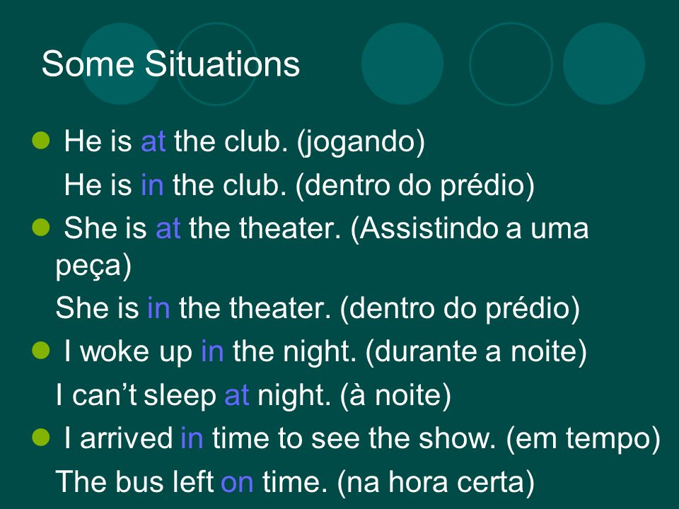 Some Situations He is at the club. (jogando) He is in the club. (dentro do prédio) She is at the theater. (Assistindo a uma peça) She is in the theate