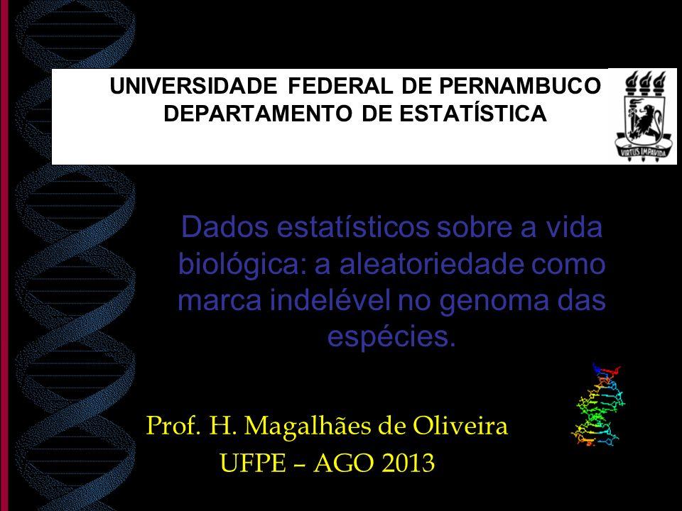 Prof. H. Magalhães de Oliveira UFPE – AGO 2013 Dados estatísticos sobre a vida biológica: a aleatoriedade como marca indelével no genoma das espécies.