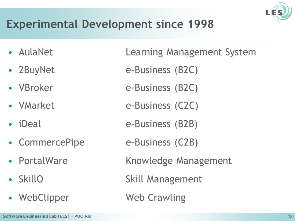 Software Engineering Lab (LES) – PUC-Rio 12 Experimental Development since 1998 AulaNetLearning Management System 2BuyNete-Business (B2C) VBrokere-Business (B2C) VMarkete-Business (C2C) iDeale-Business (B2B) CommercePipee-Business (C2B) PortalWareKnowledge Management SkillOSkill Management WebClipperWeb Crawling