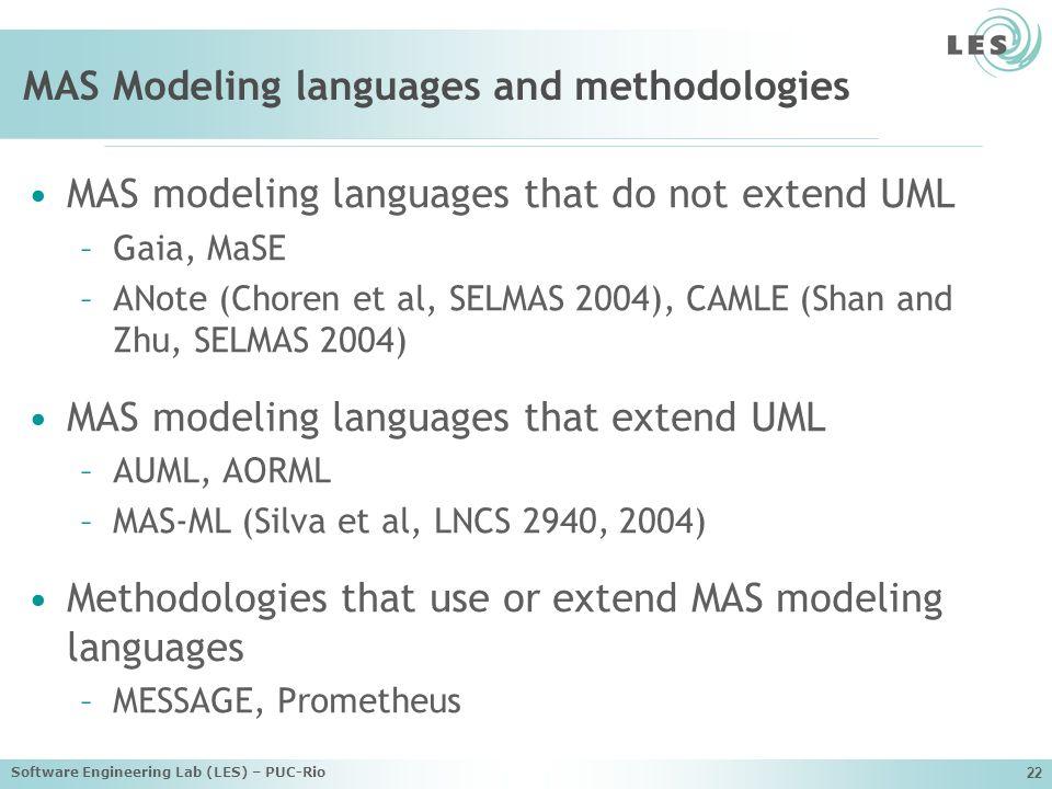 Software Engineering Lab (LES) – PUC-Rio 22 MAS Modeling languages and methodologies MAS modeling languages that do not extend UML –Gaia, MaSE –ANote (Choren et al, SELMAS 2004), CAMLE (Shan and Zhu, SELMAS 2004) MAS modeling languages that extend UML –AUML, AORML –MAS-ML (Silva et al, LNCS 2940, 2004) Methodologies that use or extend MAS modeling languages –MESSAGE, Prometheus
