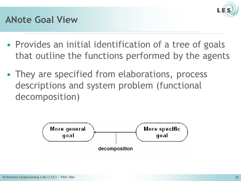 Software Engineering Lab (LES) – PUC-Rio 28 ANote Goal View Provides an initial identification of a tree of goals that outline the functions performed by the agents They are specified from elaborations, process descriptions and system problem (functional decomposition)