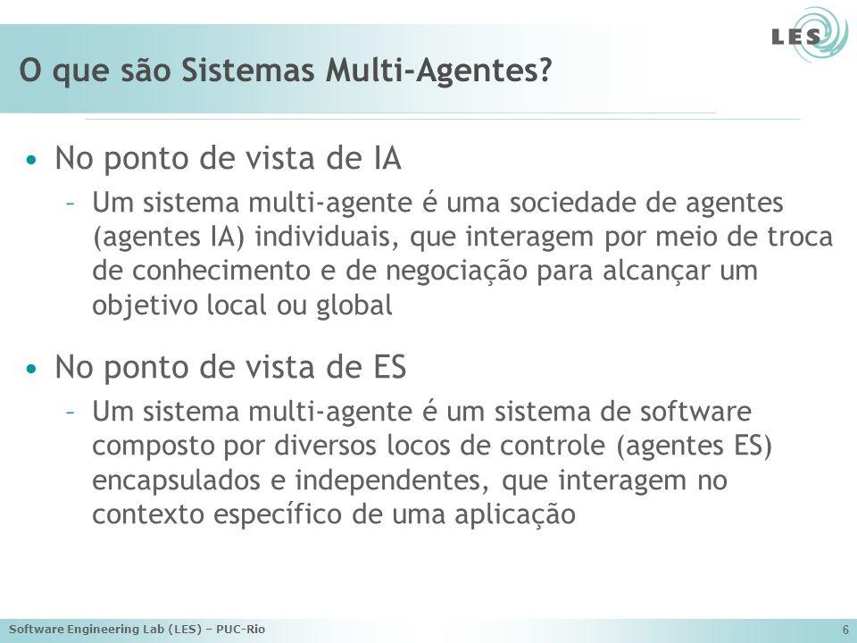 Software Engineering Lab (LES) – PUC-Rio 6 O que são Sistemas Multi-Agentes.