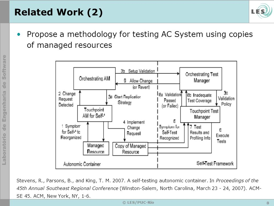 8 © LES/PUC-Rio Related Work (2) Propose a methodology for testing AC System using copies of managed resources Stevens, R., Parsons, B., and King, T.
