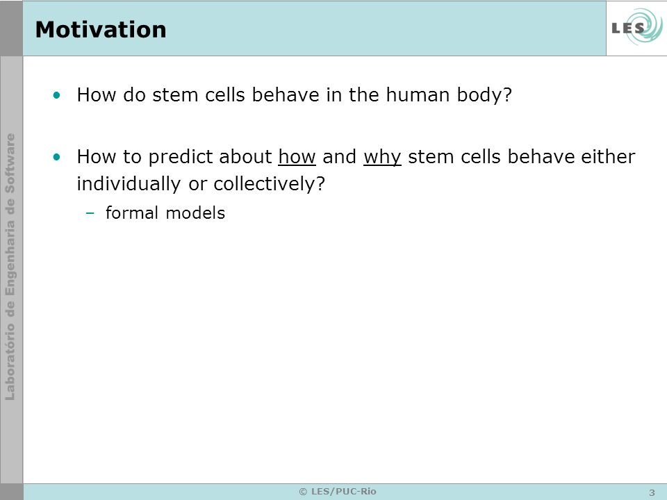 3 © LES/PUC-Rio Motivation How do stem cells behave in the human body? How to predict about how and why stem cells behave either individually or colle