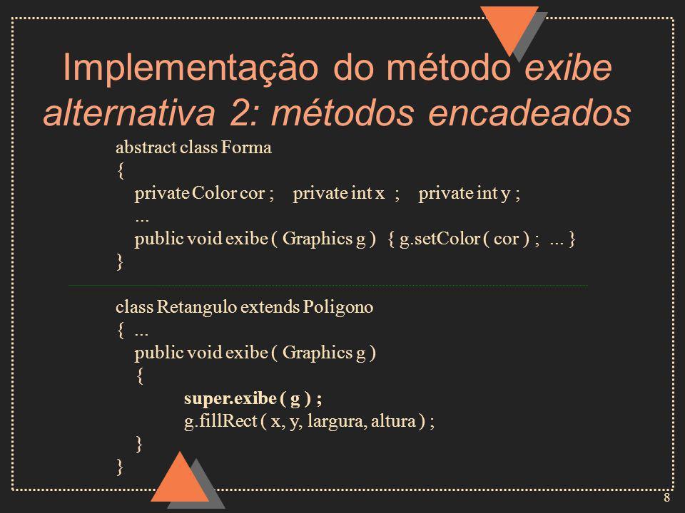 8 Implementação do método exibe alternativa 2: métodos encadeados abstract class Forma { private Color cor ; private int x ; private int y ;...