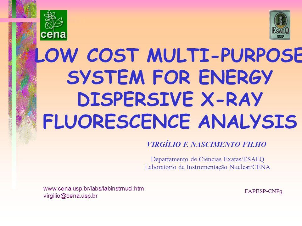 LOW COST MULTI-PURPOSE SYSTEM FOR ENERGY DISPERSIVE X-RAY FLUORESCENCE ANALYSIS VIRGÍLIO F. NASCIMENTO FILHO Departamento de Ciências Exatas/ESALQ Lab