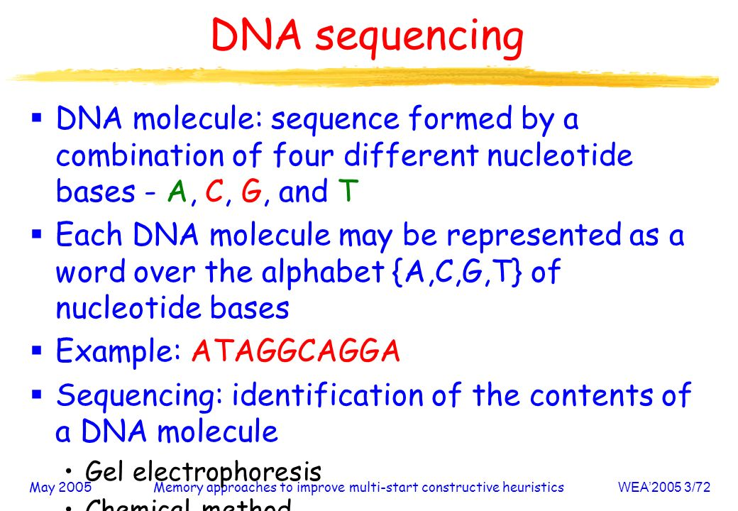 May 2005Memory approaches to improve multi-start constructive heuristicsWEA2005 3/72 DNA sequencing DNA molecule: sequence formed by a combination of four different nucleotide bases - A, C, G, and T Each DNA molecule may be represented as a word over the alphabet {A,C,G,T} of nucleotide bases Example: ATAGGCAGGA Sequencing: identification of the contents of a DNA molecule Gel electrophoresis Chemical method