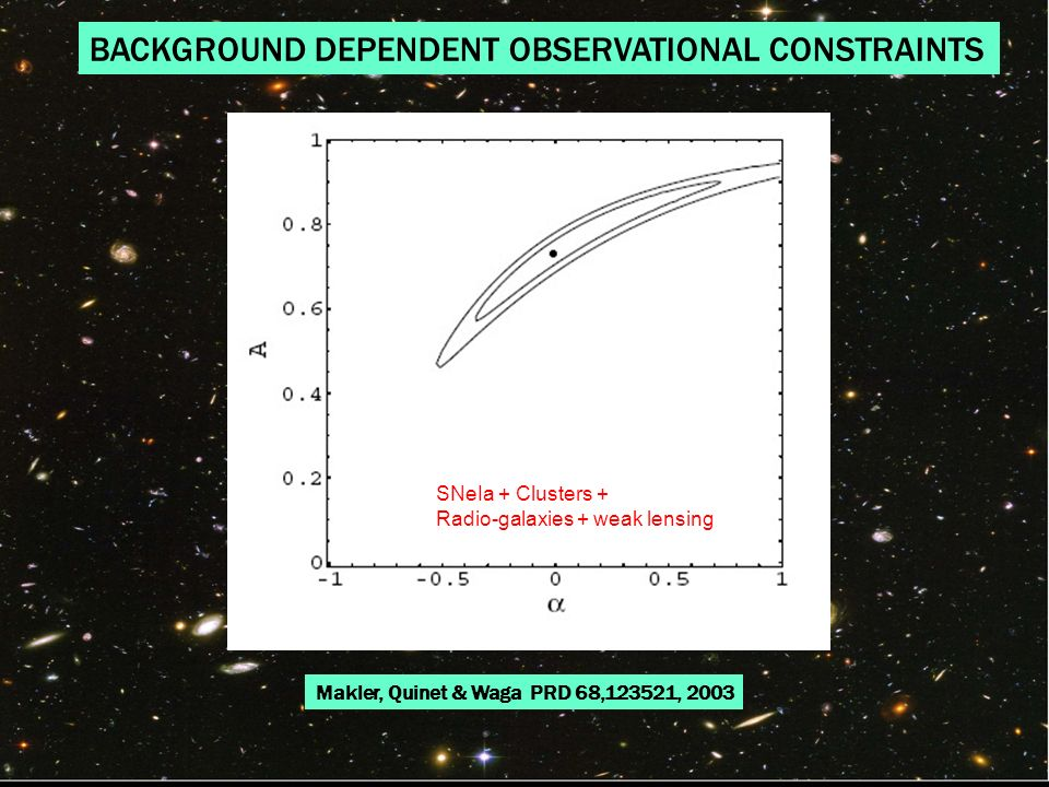 BACKGROUND DEPENDENT OBSERVATIONAL CONSTRAINTS Makler, Quinet & Waga PRD 68,123521, 2003 SNeIa + Clusters + Radio-galaxies + weak lensing