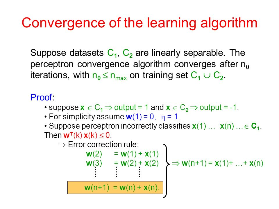 Convergence of the learning algorithm Suppose datasets C 1, C 2 are linearly separable. The perceptron convergence algorithm converges after n 0 itera