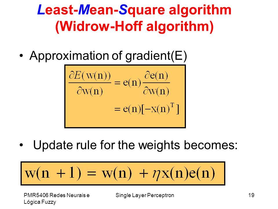 PMR5406 Redes Neurais e Lógica Fuzzy Single Layer Perceptron19 Least-Mean-Square algorithm (Widrow-Hoff algorithm) Approximation of gradient(E) Update